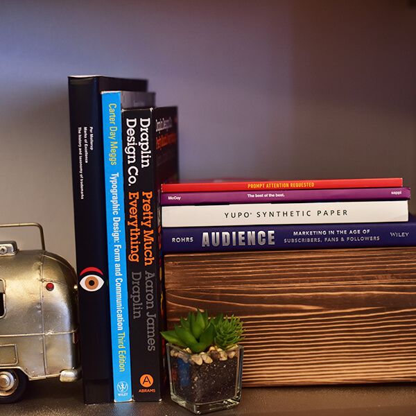 Bookshelf with marketing books