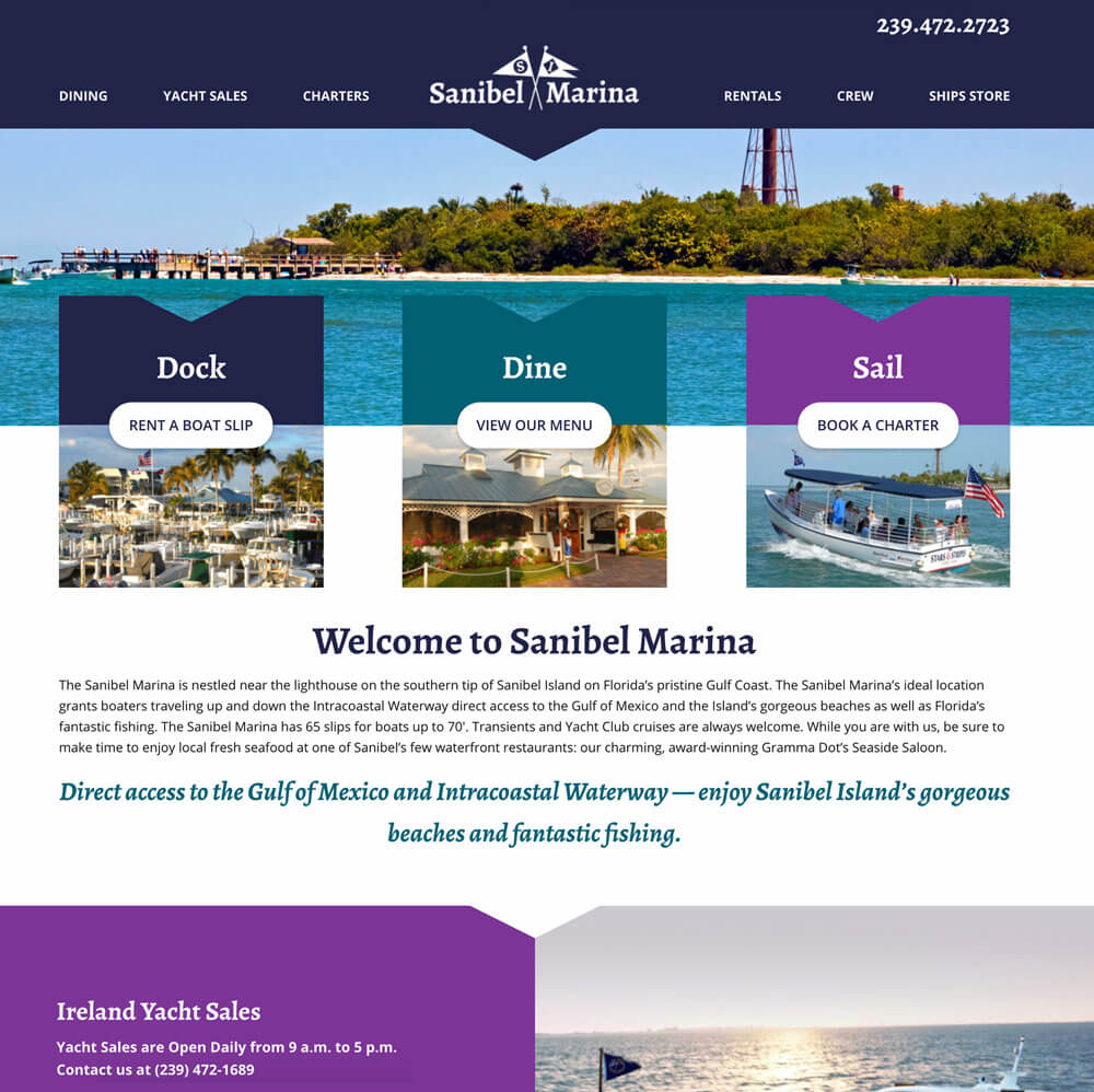 Sanibel Marina Website Screenshot - After Redesign