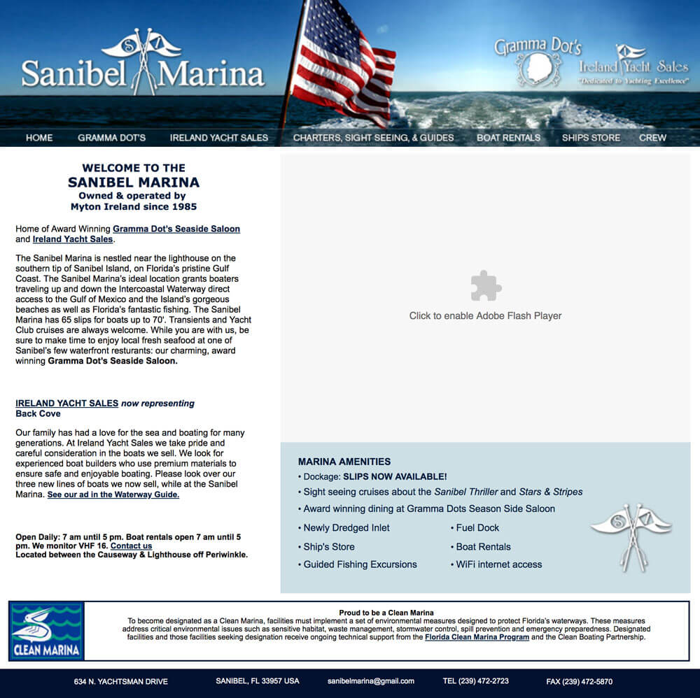 Sanibel Marina Website Screenshot - Before Redesign