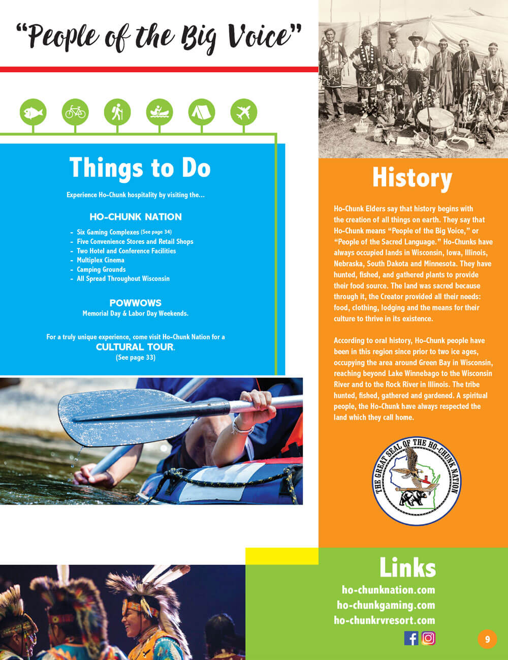 Native Wisconsin Travel Guide Brochure Spread - People of the Big Voice