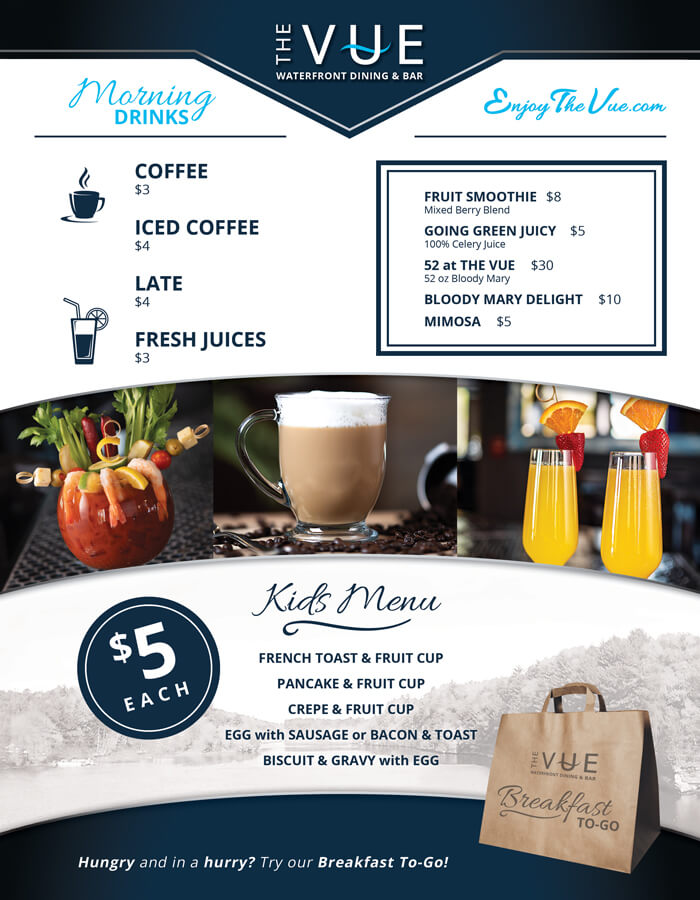 The VUE breakfast menu back