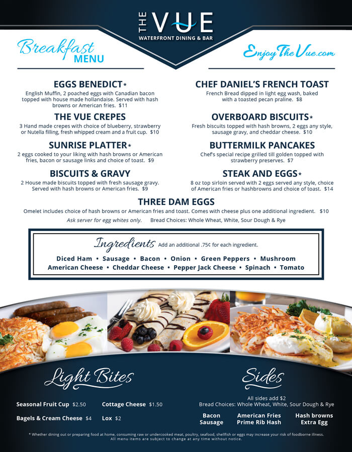 The VUE breakfast menu front