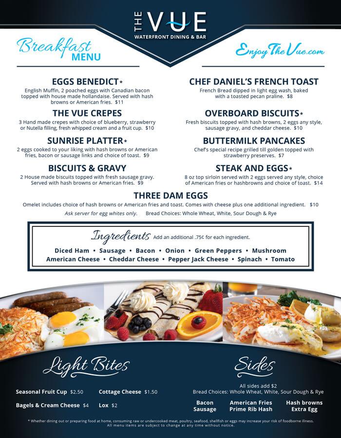 The VUE breakfast menu front
